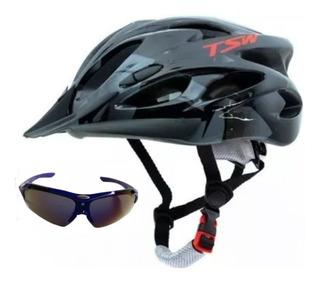 Capacete Bike Ciclismo Bicicleta Tsw Led+óculos Esporte Sol
