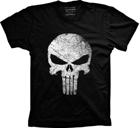 Camiseta Plus Size Justiceiro Marvel 100% Algodão Premium