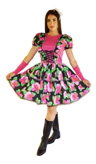 Vestido De Festa Junina Caipira Adulto Com Luva E Fitas