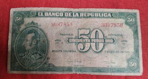 Imagen 1 de 2 de   Billete Antiguo Colombianos 50 Pesos Año 1951