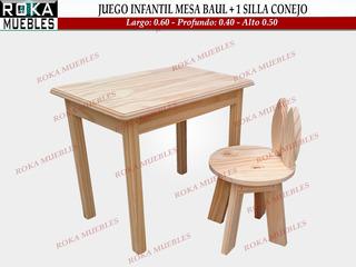 Mesa Infantil + 1 Sillita Conejo De Niño Pino 0.60x0.40 Roka