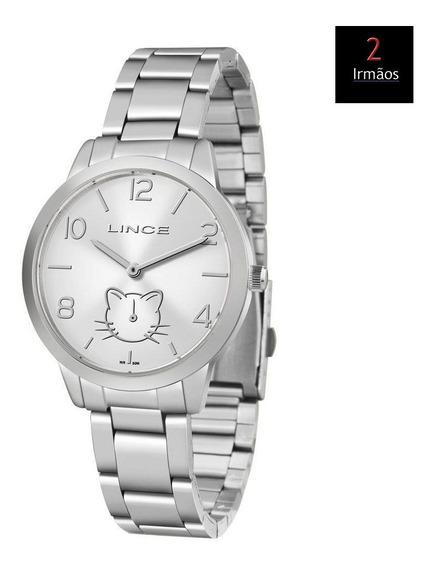 Relógio Lince Feminino Prateado Gatinho Lmm4574l