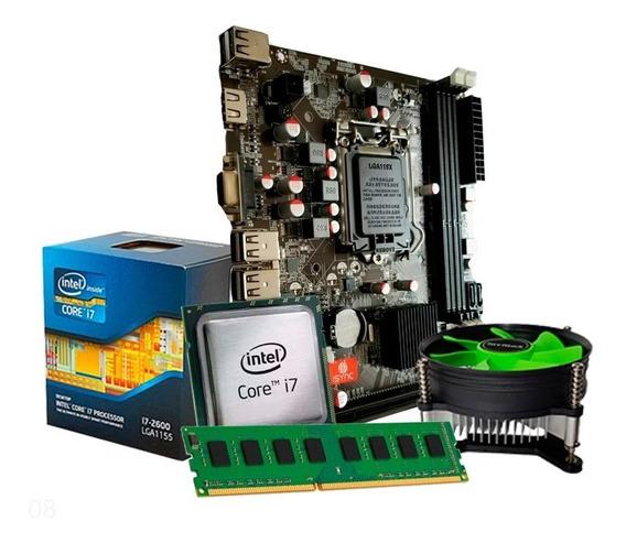 Kit Upgrade I7 2600 3.4ghz + Placa H61 + 8gb Ddr3 + Nfe