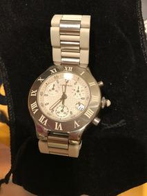 Relógio Cartier Aço /branco Cronógrafos Lindo
