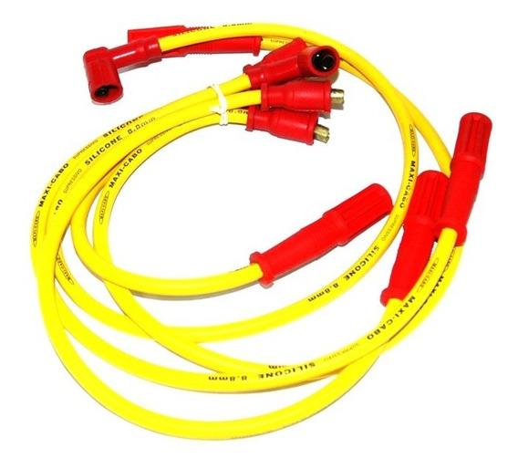 Jogo Cabos Vela Silicone Amarelo 8mm Gol Quadrado Ap 1.6 1.8