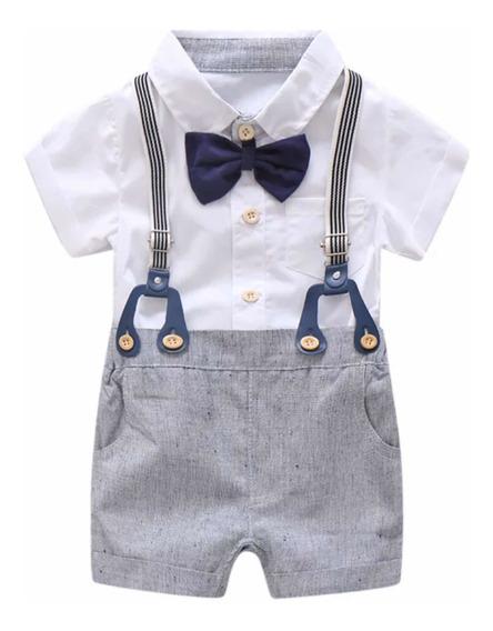 Conjunto Formal Bebé Niño Camisa Moño Short Tirantes