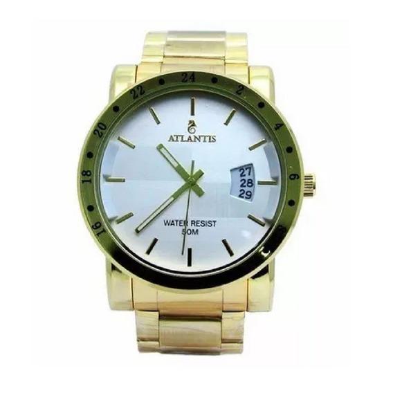 Relógio Masculino Social Sport Barato Dourado Original Quart