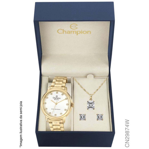 Relógio Champion Elegance Feminino Cn29874w + Folheado 18k