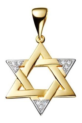 Pingente Estrela De Davi Grande Com Zircônia Folheado A Ouro