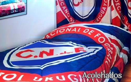 Acolchado  Peñarol O Nacional 2 Plazas Sommier - Rc Sueños