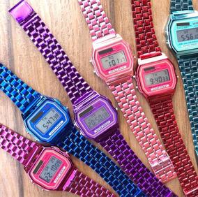 Relógio Casio Prata, Dourado, Rose, Rosa, Azul, Vermelho