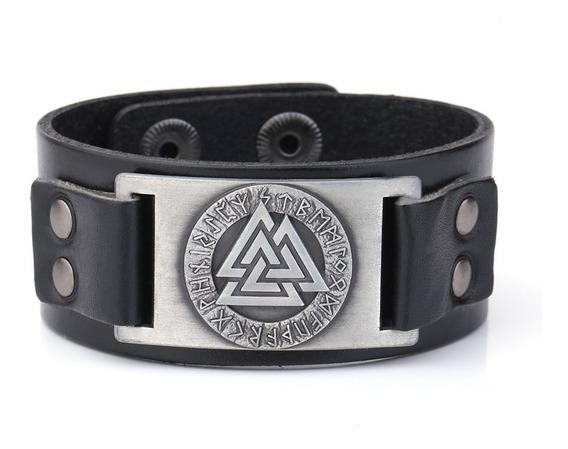 Bracelete Pulseira Masculina Couro Viking Runas Valknut
