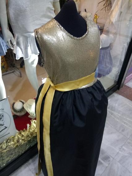 Vestido De Fiesta Para Niña Talle 14 Años Color Oro Largo.