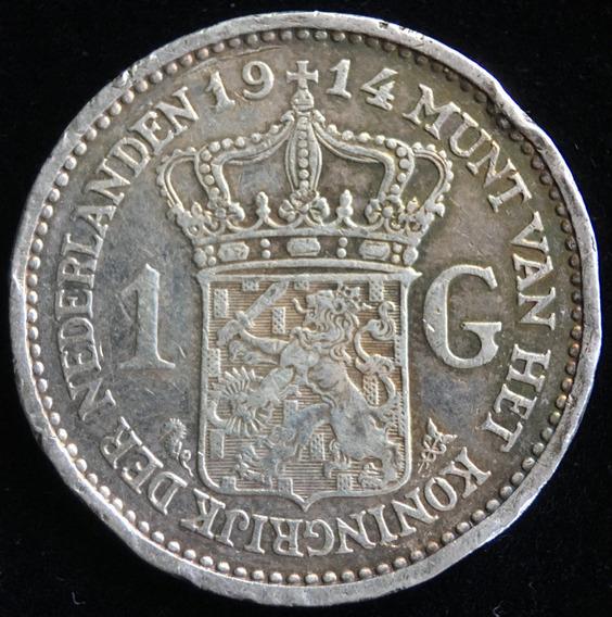 Paises Bajos, Gulden, 1914. Plata. F++