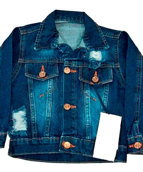 Jaqueta Jeans Infantil Destroyed Tam 02 Menina Feminina