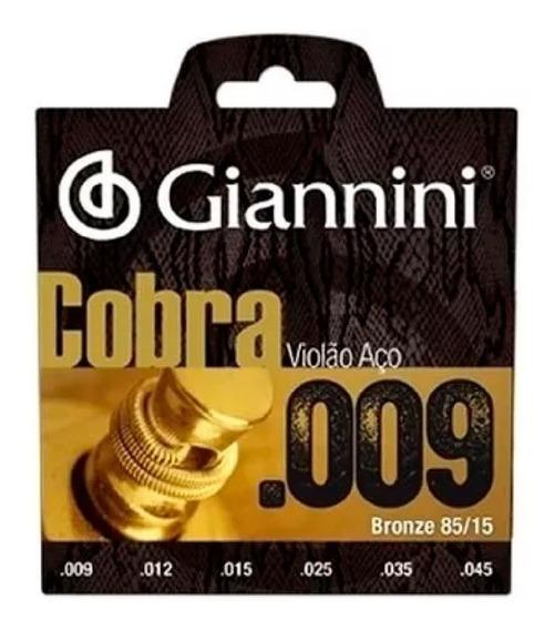 Encordoamento Violão Aço 009 Giannini Cobra 85/15