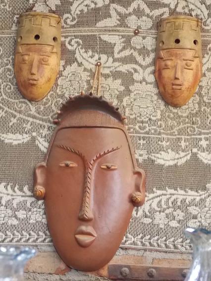 Juego De Mascaras Artesanales Grandes Estilo Antiguo.