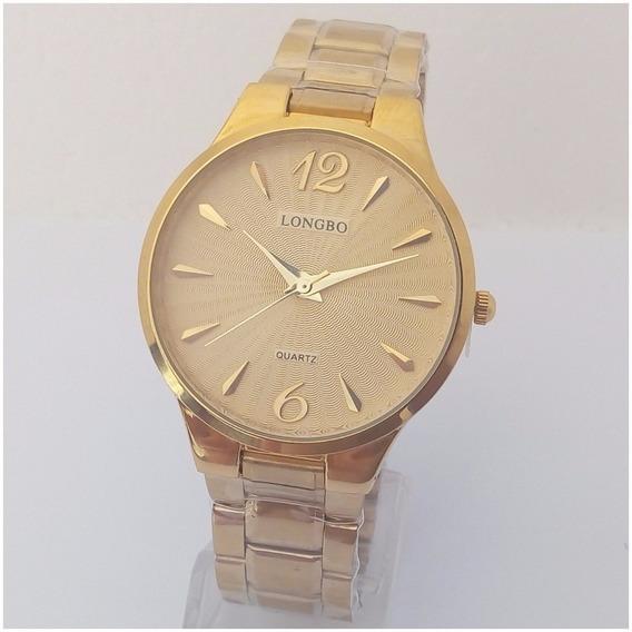 Relógio Feminino Longbo Quartz Dourado Folheado A Ouro Original Luxo Vip