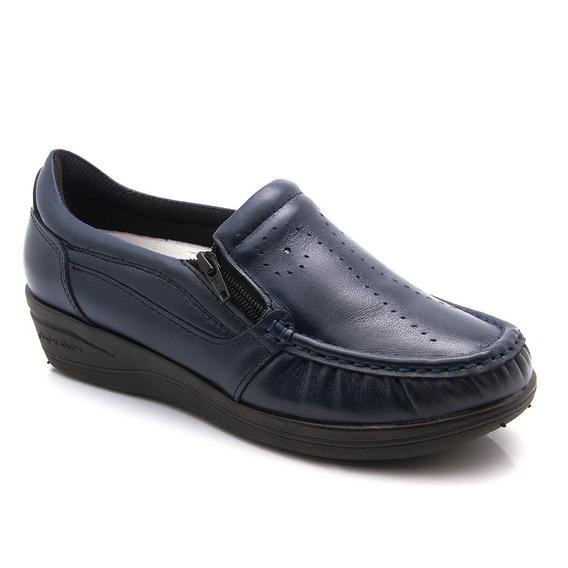 Mocassim Feminino 200 Em Couro Preto E Azul Doctor Shoes