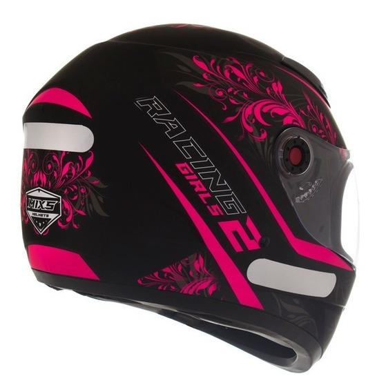 Capacete Preto Rosa Feminino Personalizado Racing Girl 18522