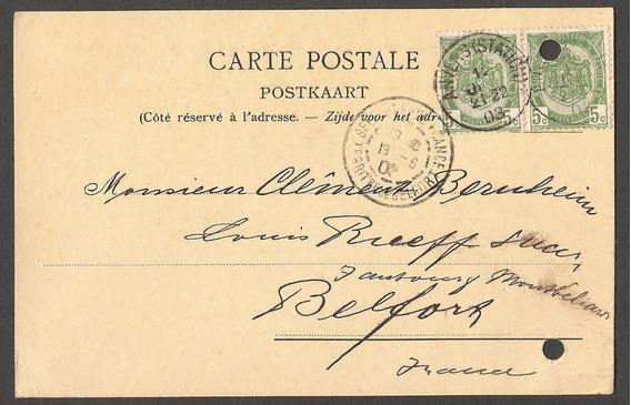 Belgica 1903 Postal De Anvers A Belfort Francia - 059