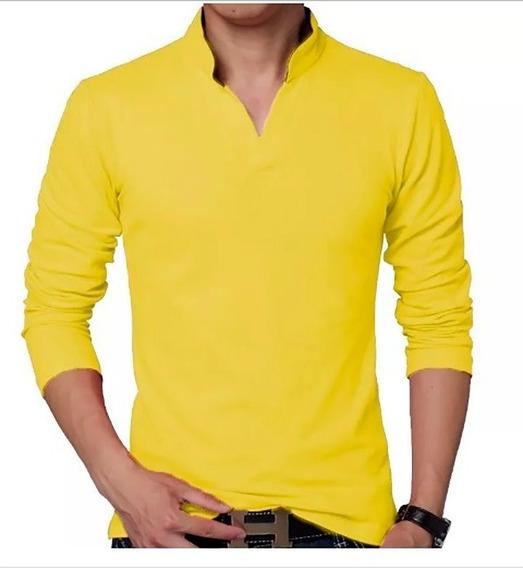 Kit 3 Camisa Polo Manga Longa Gola V Promoção