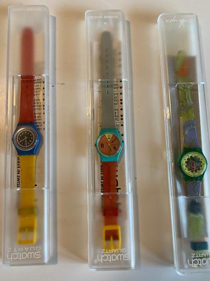 Relogio Swatch,anos 90.na Caixa, Sem Uso. 3 Pecas Por $450