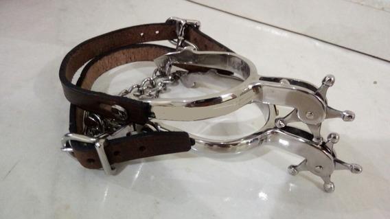 Par Esporas Xerife De Aço Inox - Vaquejada Equinos Cavalos