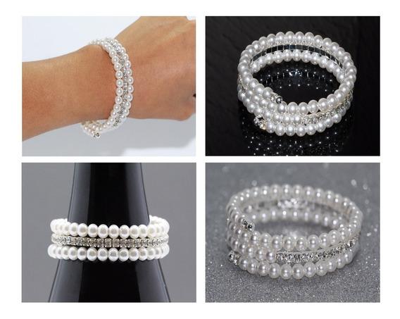 Pulsera Casual Espiral Cristales Y Perlas Pc201