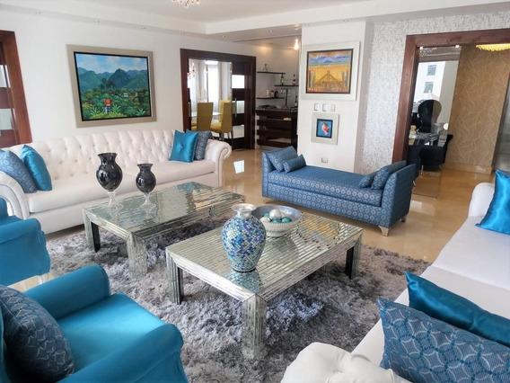 Lujoso Apartamento Amueblado 3hab En Piantini C/área Social Y Ascensor Privado