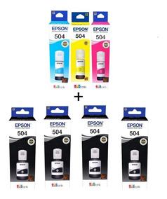 Kit 7 Refil Tinta Original Epson L6161 L4150 L4160 T504