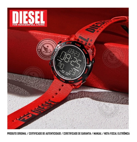 Relógio Diesel Crusher Division Masculino Vermelho Original