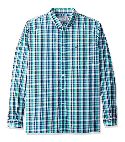 Exclusiva Camisa Lacoste Aqua Plaid 2xl Slim Fit