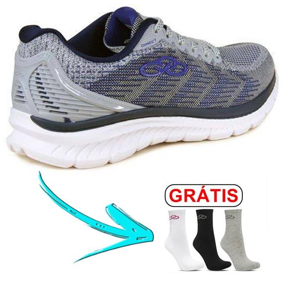 Tênis Sapato - Olympikus Direct Cor: Cinza + Meia ( Grátis )