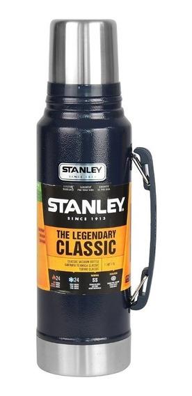 Garrafa Térmica Stanley Classic Azul 24h Quente Frio 1 Litro