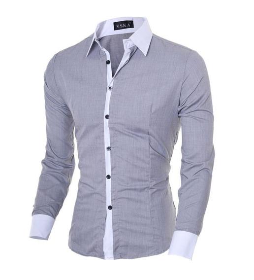 Camisa Social Formal Comprida Masculina Cinza Claro Top