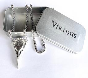 Cordão Colar Pingente Crânio De Corvo Nórdico Vikings Floki