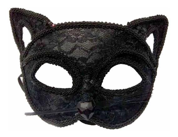 Máscara Antifaz Gatúbela Negro Con Encaje. Estamos Por Miraf