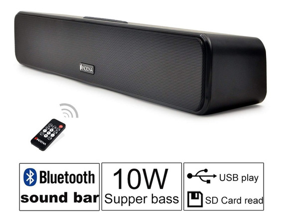 Caixa De Som Bluetooth Indena Mini Soundbar 10w - Nova