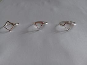 Kit 3 Anel Triangulo, Losango, Coração Geométrico Em Prata