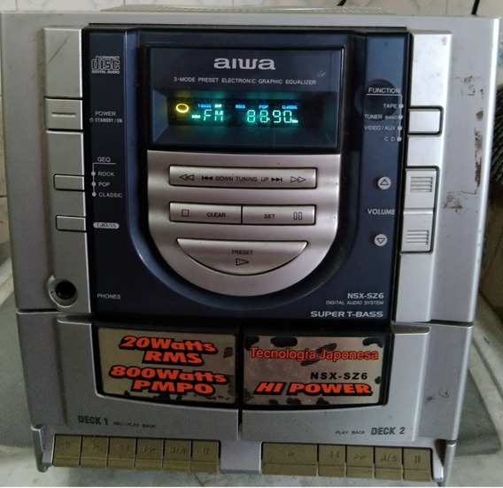 Central Som 3 Em 1 Aiwa Nsx Sz6 Cd Tocafita K7 Rádio C 3722