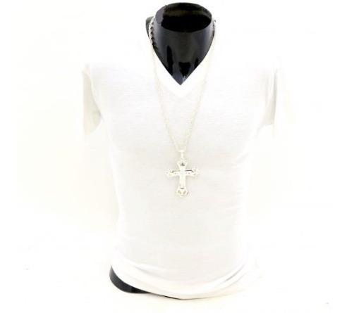 Collar Con Cruz De Padre Color Plata