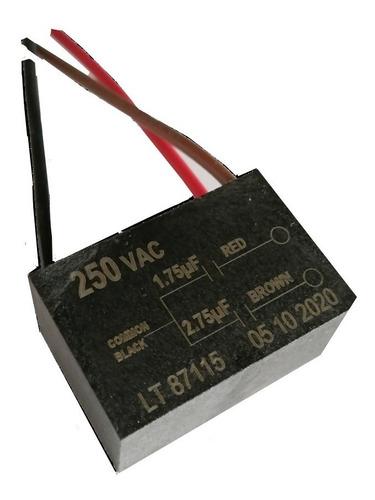 Imagen 1 de 3 de Capacitor Doble 1.75uf-2.75uf Para Ventilador De Techo.