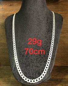 Colar De Prata Italiana 925 Modelo Groumet 29g 70cm