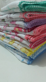 Fralda Estampada Luxo 70x70 Com Crochê Kit Com 5 Pçs