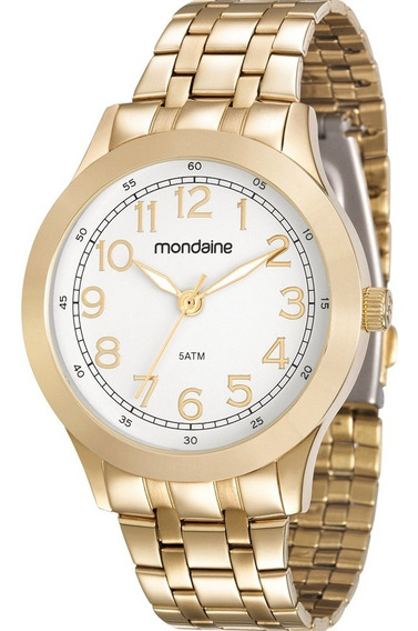Relógio Mondaine Feminino Analógico Dourado Original Barato