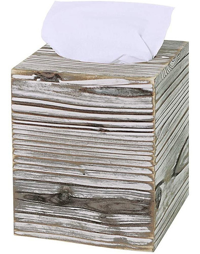 Imagen 1 de 2 de Supla - Caja De Pañuelos De Madera, Cuadrada, Rústica, Con C
