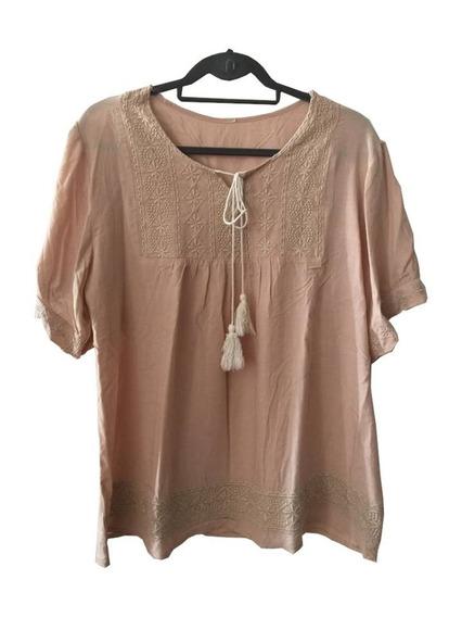 Camisa Blusa Camisola Beige Con Canesú Bordado Matrícula