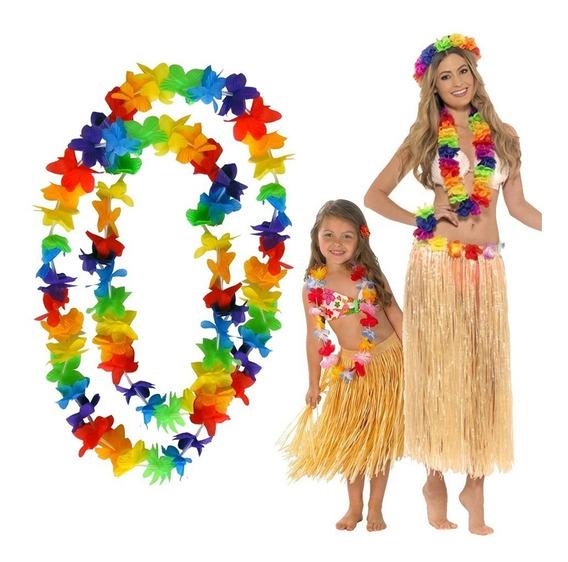 12 Collar Hawaiano Flores Tela Colores Fiesta Boda Batucada