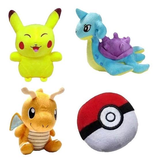 Kit 4 Pelucia Pokemon Pikachu Lapras Pokebola Dragonite